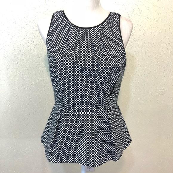 91855c4d7ce81 White House Black Market Checkered Peplum Top. M 5b73247b81bbc80ce2727c54